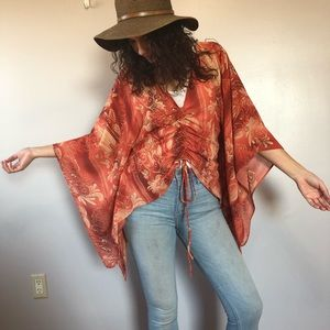 Unique Spectrum brand Red Yellow Sheer Poncho